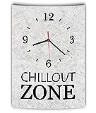 LAUTLOSE Designer Wanduhr mit Spruch Chillout Zone grau Betonoptik modern Deko Schild Abstrakt Bild 41 x 28cm