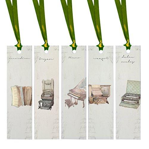 J.MoMo Lesezeichen aus Papier, rechteckig, mit Schleife, Grün, Rot, Silber, Braun, Champagner und Kanarienvogel, 5 Stück Green Ribbon