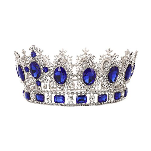 Braut Kopfschmuck Große Weiße Strass Krone Prinzessin Smaragd/Saphir Krone Retro Runde Barock Schmuck Hochzeit Zubehör,Blue (Kostüm Schmuck Smaragde)