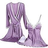 Aibrou Damen Satin Nachtwäsche Kimono Nachthemd Negligee Spitze Chemise Pyjama Robe Zwei Stücke Sleepwear Set Patchwork Violett M