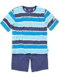 Jockey XXL Pijama corto a rayas turquesas-azules