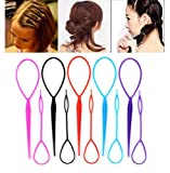 10PCS (5 Large + 5 Small) Kit de coiffure de queue en plastique Magic Hair Braid Tresse de queue de cheval Maker Clip Tool Simple Bricolage Styling Accessoires Hair Pull Needle Hair Pins