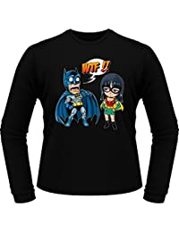 T-Shirts manches longues Comics - Parodie Batman et Robin du manga One Piece - What the... !? (Dark Version) - T-Shirt manches longues Noir - Haute Qualité (886)