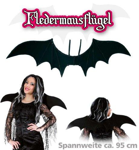 Fledermaus-Flügel, ca. 95 cm Breite, schwarz, Fasching, Halloween, Karneval, (Flügel Rot Fledermaus)