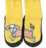 """socksPur Hüttenschuh-Söckchen """"lustige Tiere"""" mit Ledersohle Anti-Rutschsohle aus echtem Leder. 1 PAAR / 1 Farbe. (20-21, gelb)"""