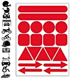 Reflektoren Aufkleber Rot Stickers Set (19 Stück) Selbstklebende Reflektierende Reflektor Aufkleber...