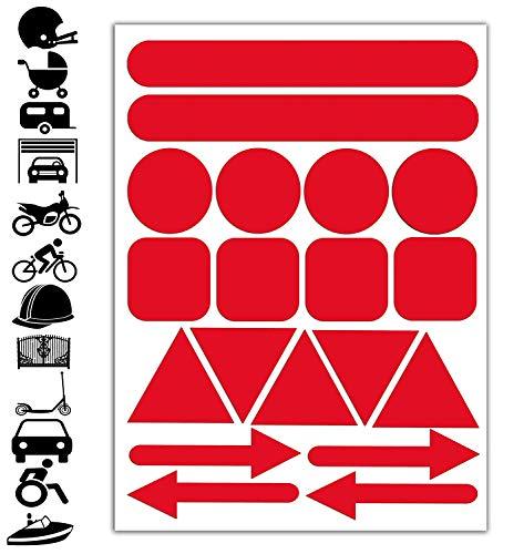 Skino 19pcs x PVC Adesivi Rifrangenti Reflective Segnaletici Riflettenti per Sicurezza Notturna, Rosso per Casco Passeggino Carovana Garage Bicicletta Scooter Motocicletta Recinto la Barca D 19