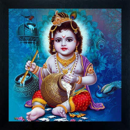 Madhav Art Lord Radha Krishna Painting Digitally Printed Classic Creative and Decorative Photo Frame/God Krishna Religious Digital Images for (30cm x 30cm)