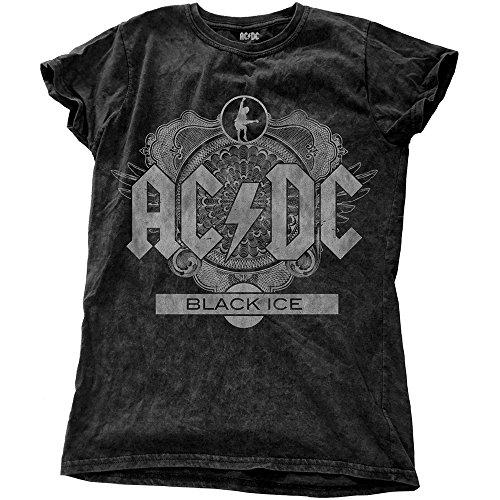 Rockoff Trade Acdc Black Ice Snow Wash, T-Shirt Donna Black