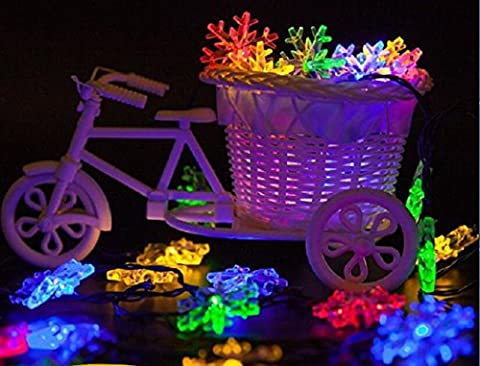 Guirlande lumineuse solaire crazysell, ideality 30LED 20m 2modes étanche à énergie solaire Guirlande lumineuse LED flocon de neige Ambiance d'éclairage pour les fêtes, Jardins, Extérieur, maison, vacances, décorations de Noël arbre de Noël décorations multicolore