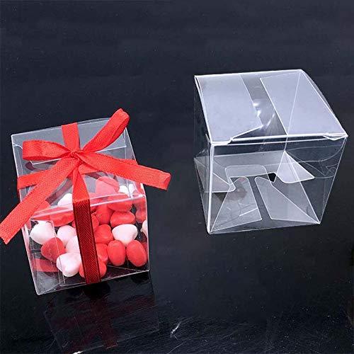 50 teile/los Klare Quadratische Hochzeit Favor Geschenk Box PVC Transparent Party Candy Taschen Schokolade Boxen 5x5x5 cm