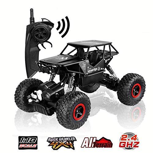 WANGXIAO RC Auto Geländewagen,Off-Road Rock Crawler 1:16 Wiederaufladbare 2,4 GHz High-Speed-Racing Rock Climber Für Kinder Erwachsene,Black (Wiederaufladbare Rock Crawler)