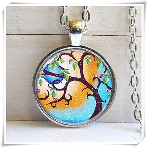 Skurril Baum Art Anhänger, Silber Charm Halskette