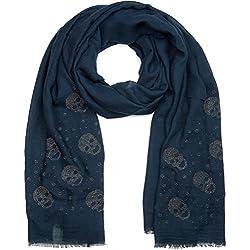 styleBREAKER chal con aplicaciones de calaveras de remaches de estrás, deshilachados, pañuelo, señora 01017061, color:Azul oscuro