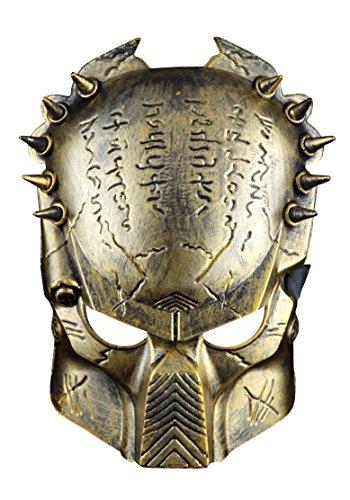PREDATOR GOLD ALIEN Softair Maske Totenkopf Schädel Vollschutzmaske Silber Militär Paintball Horror Halloween Karneval Fasching thematys®