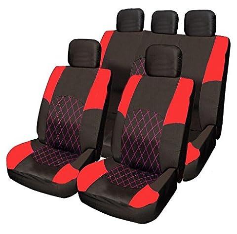 Opel Vauxhall Insignia Meriva Mokka RED & BLACK Cloth Seat Cover Set Split Rear Seat