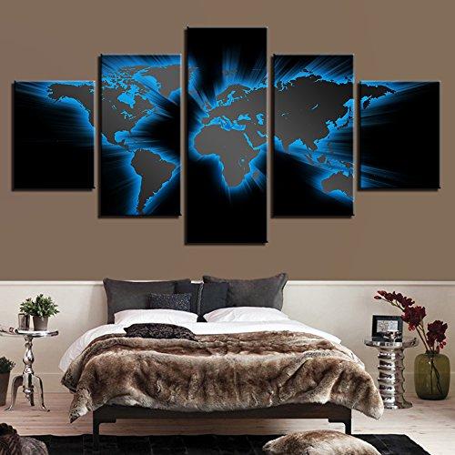 Design PT Modular Leinwand Wandkunst HD Prints Bilder 5 Stück Abstrakt Hellblau Weltkarte Gemälde Modular Poster Wohnkultur Rahmen, 20x35 20x45 20x55cm, Frame
