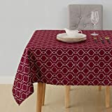 Deconovo Nappe Rouge Bordeaux Jacquard Rectangulaire Décoratif Nappes Picnic Cuisine Motif Marocain Impermeable 140x300cm