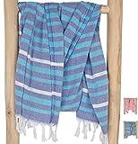 ZusenZomer Hamamtuch XXL Ibiza 150x210 Blau Türkis - Fouta Hammam Tuch Strandlaken Gross und Leicht - 100% Hochwertige Baumwolle Handgewebt - Fair Trade Hamamtücher
