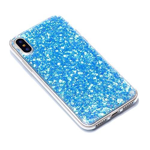 iPhone X Hülle, Voguecase Shinning Glitzer Bling Silikon Schutzhülle / Case / Cover / Hülle / TPU Gel Skin Handyhülle Premium Kratzfest TPU Durchsichtige Schutzhülle für Apple iPhone X(Gold) + Gratis  Blau