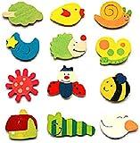 12pcs Colorful Wood Cartoon Fridge Magnet (Random Patterns)