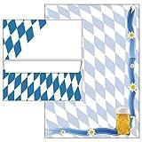 Bayern-Raute + Bier 50-teilig 25 Blatt Briefpapier + 25 Stück Briefumschläge DIN lang ohne Fenster 5775+6155