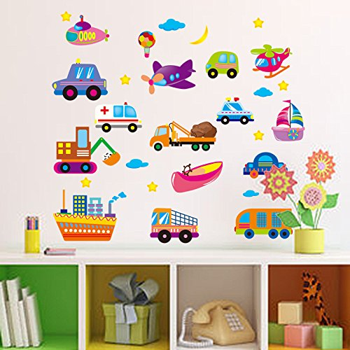 kuamai Cartoon Nutzfahrzeuge Traktoren Auto Wand Aufkleber Kinder Zimmer Fahrzeuge Wand Aufkleber Art Poster Fototapete Home Decor Wandbild Aufkleber