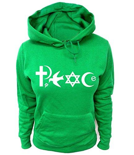 Artdiktat Damen Hoodie - PEACE - WORLD RELIGIONS, Größe XXL, grün