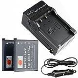 DSTE(2 Pack) Ersatz Batterie NP-60 + Reise Ladegerät Kit für Casio Exilim Zoom EX-Z19BK,EX-Z19GN,EX-Z19LP,EX-Z19PK,EX-Z19SR,EX-Z20,EX-Z85VP,EX-Z85,EX-Z85BE,EX-Z85BK,EX-Z85BN,EX-Z85EO,EX-Z85GN Kamera