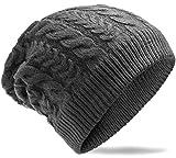 Grin&Bear weiches unisex Beanie Mütze in Grobstrick -8- Design M5