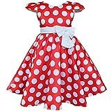 iEFiEL Kinder Mädchen Kleid Festlich Rockabilly Vintage Polka-Dots Bekleidung Partykleid Rot 104 (Herstellergröße:100)