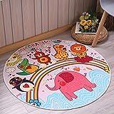 Jixing Kinder Cartoon Rutschfeste Matten Spieldecke Krabbeln Matten Runde Teppich für Kinder, Roter Elefant, Plüsch Stoffe