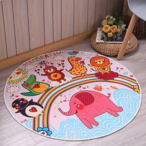 Jixing Kinder Cartoon Rutschfeste Matten Spieldecke Krabbeln Matten Runde Teppich für Kinder, Roter Elefant, Plüsch Stoffe (Lernen Teppiche Für Kinder)