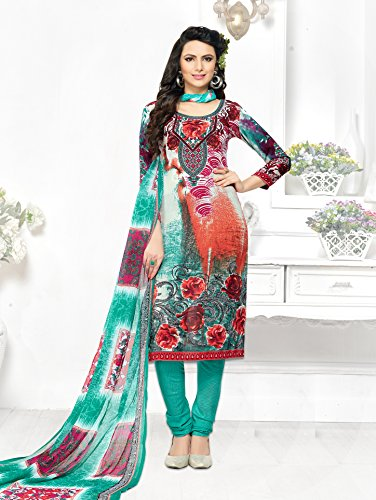 Beige And Green Leon Partywear UnStitched Salwar Suits