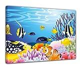 "Bilderdepot24 Leinwandbild ""Kinderbild - Leben im Meer - Cartoon"" XXL - 80x60 cm 1 teilig - fertig gerahmt, direkt vom Hersteller"