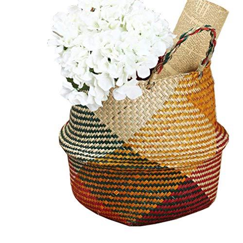 SZETOSY Korb aus natürlichem Seegras, von Goodchanceuk, handgefertigter Seegraskorb mit Griff, nutzbar als Bauchkorb, Pflanzgefäß, für Spielzeuge oder als Wäschekorb, Style#1, 32CMx28CM