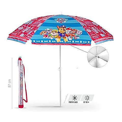 Schirm für Strand / Garten / Meer / Terrasse. Windfest – Jungen und Mädchen mit Motiven aus Paw Patrol – Lichtschutzfaktor UV SPF 30+. Schirm
