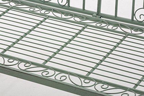 CLP Eisen-Gartenbank ADELE im Landhausstil, aus lackiertem Metall, 107 x 54 cm Antik Grün - 7