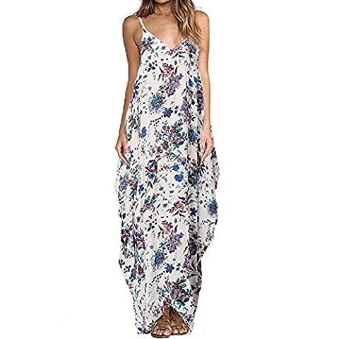 Vovotrade Femme V Neck Impression Floral Maxi Longue Robe Design Chic Sans Manches (Size:XXXL, Bleu)