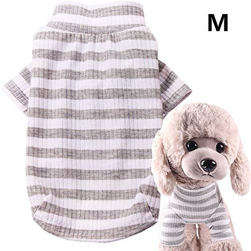 Alexsix Haustier-Shirt, Hundekatze-Kleidung-Welpen-klassisches T-Stück gestreiftes T-Shirt Haustier-Sommer-Kleid -
