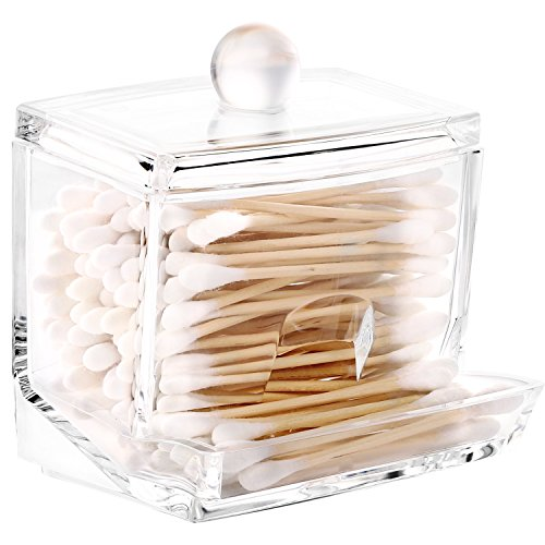 Luxspire Acryl Wattestäbchen Aufbewahrung, Wattestäbchen Spender Cotton Wattepads Behälter Box Make-up Kosmetik Halter Organizer mit Deckel, Transparent