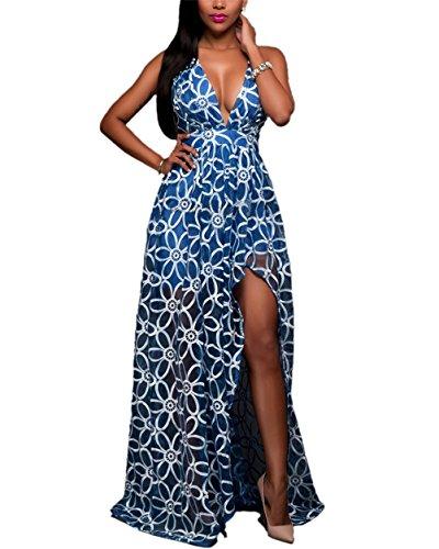 Frauen reizvoller V-Ausschnitt ärmellos Organza-Stickerei Unregelmäßige Abend-lange Rand-Kleid Blau