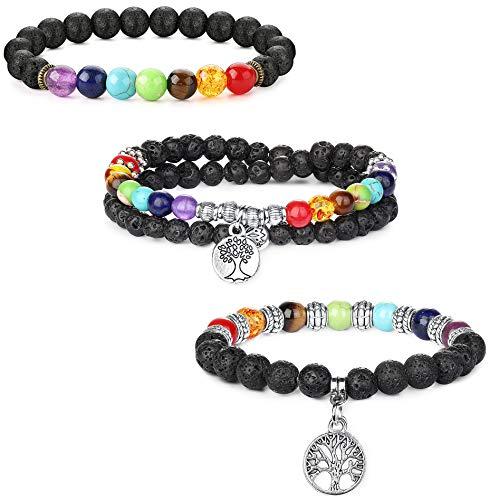 sailimue 3 Stück Lavastein Armband 7 Chakra Perlen Diffusor für ätherisches Öl Armband Elastisches Seil Baum des Lebens Armbänder für Männer Frauen (Des Lebens-armbänder Baum)