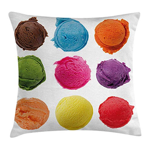 VICKKY Ice Cream Decor Throw Pillow Cushion Cover, Ice Cream Toppings with Colorful Various Flavor Yummy Sweet Summer Image, Decorative Square Accent Pillow Case, 18 X 18 inches, Multicolor