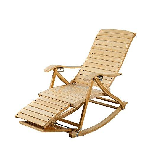 LHA Nature Casual Pliant Chaise inclinable Adulte Balcon Bambou Chaise berçante Vieux déjeuner Pause Chaise Chaise Paresseux Chaise Chaise Facile