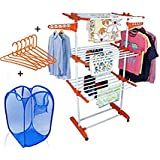 TNC Life Time Use Cloth Drying Dryer Stand Racks With Laundry And 6 Ps Hanger Free @ Wholesale Price From Manufacturer ( Made In India)
