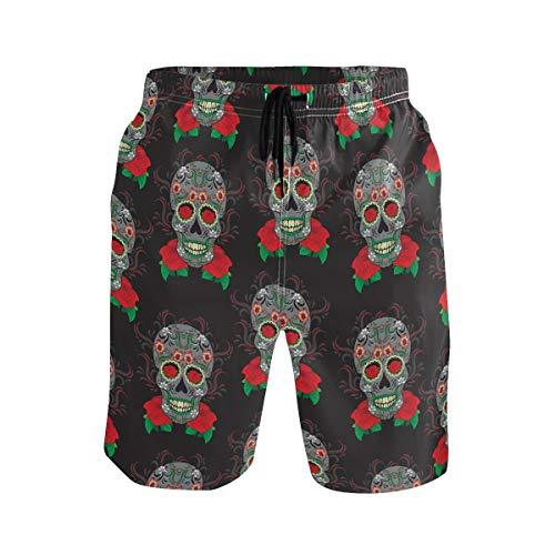 BONIPE Herren Badeshorts Bunt Sugar Skull Muster schnell trocknend Boardshorts mit Kordelzug und Taschen Gr. L/XL, Mehrfarbig