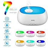 LESHP Ultrasonic Aroma Essential Oil Diffuser Water Oxygen Aroma Diffuser Humidifier With Four Timer Mode Light 7 Color LED Mood Lamp(White)