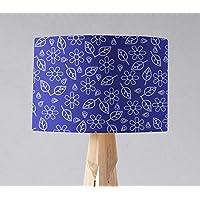 Pantalla de lámpara azul con diseño de arte popular blanco, lámpara de mesa o de techo.