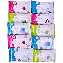 Origami Wet Wipes - 10 wipes per pack - 10 packs - Total 100 wipes - Assorted Flavours